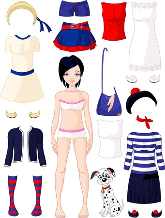 Paper doll with clothing set  Summer in Paris