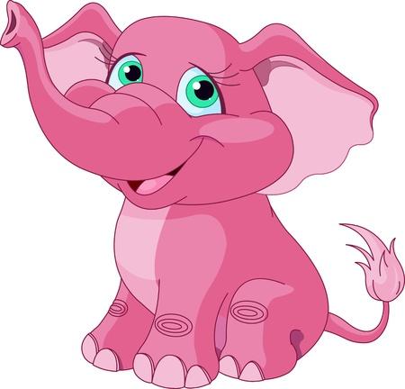 Ilustración de Very Cute pink elephant  - Imagen libre de derechos