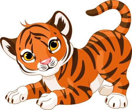 Illustration of playful tiger cub