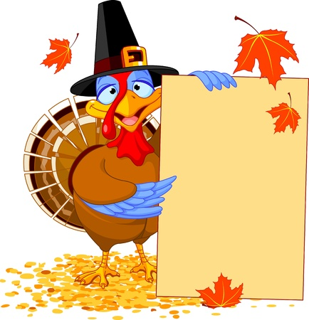 Thanksgiving Turkey holding Holiday Note