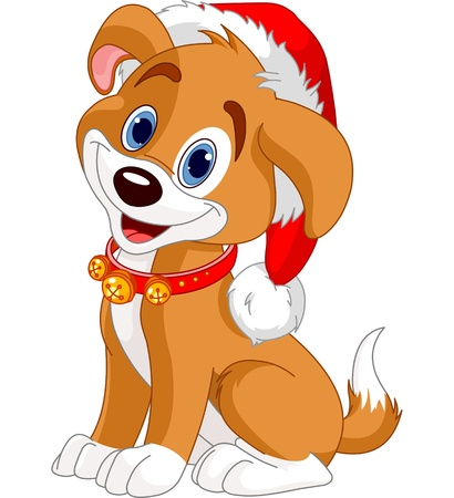 Photo for Christmas dog with Santas hat - Royalty Free Image