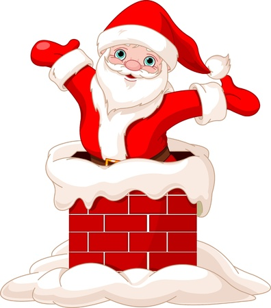 Happy Santa Claus jumping from chimney