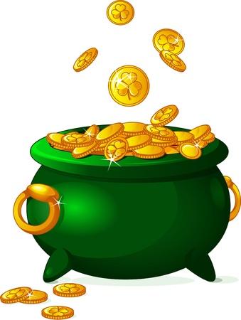 Pot full of golden coins  St  Patrick