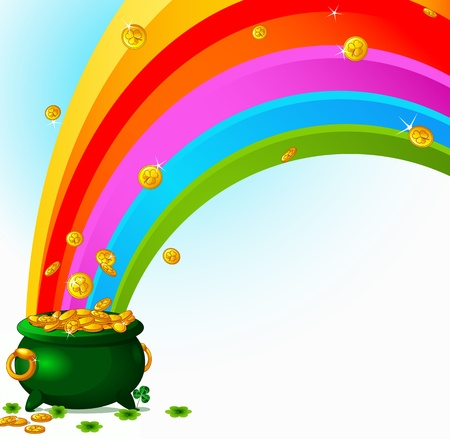 Pot  full of golden coins and the rainbow