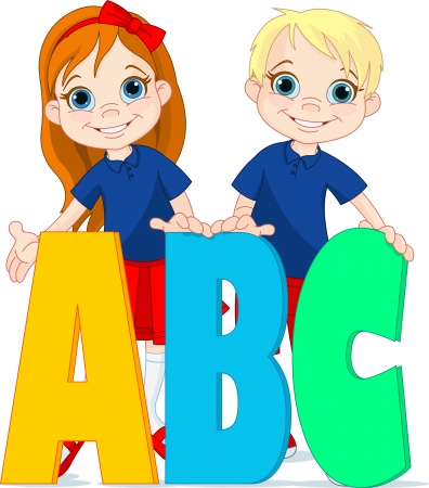 Illustration two kids and ABC letters
