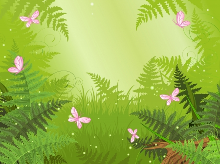 Illustration for Magic forest landscape with butterfly - Royalty Free Image