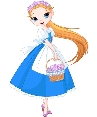 Fairy girl with a basket full of flowers