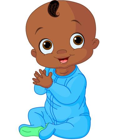 Illustration pour Illustration of Cute baby boy clapping hands - image libre de droit