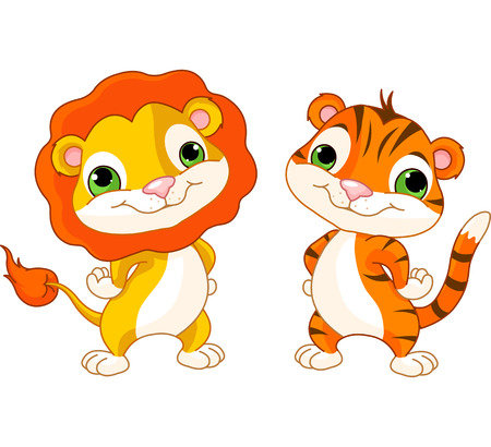 Photo for Cute animal characters lion and tiger - Royalty Free Image