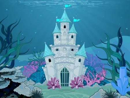 Illustration for Magic Fairy Tale Mermaid Princess Castle  - Royalty Free Image