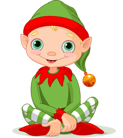 Illustration of sitting cute Christmas Elf