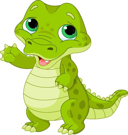 Illustration of very cute baby alligator