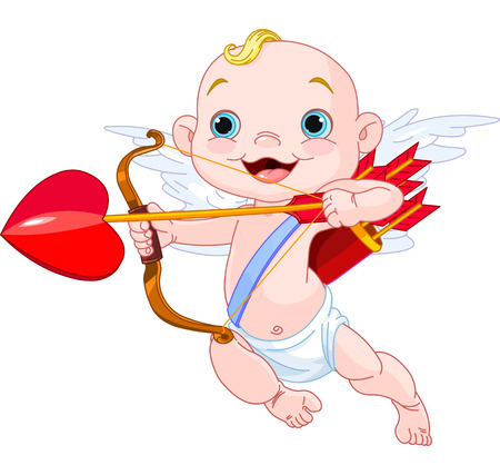 Ilustración de Valentines Day Cupid ready to shoot his arrow - Imagen libre de derechos