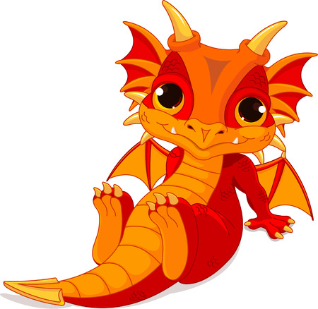 Illustration pour Cute cartoon baby dragon  - image libre de droit