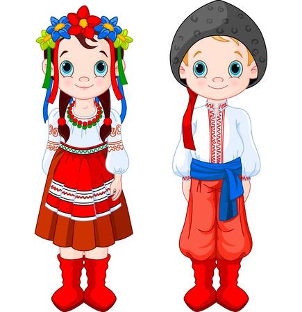 Boy and Girl in Ukrainian folk costumes.