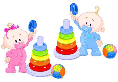 Foto de The toddler boy and girl play developing color pyramid.  - Imagen libre de derechos