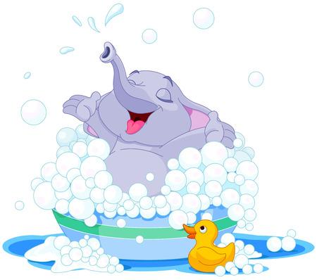 Illustration pour Illustration of cute elephant takes bath into basin - image libre de droit