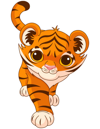Illustration of cute crouching tiger