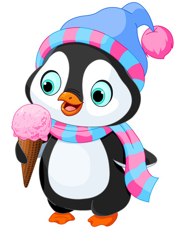 Illustration pour Cute penguin with hat and scarf eats an ice cream - image libre de droit