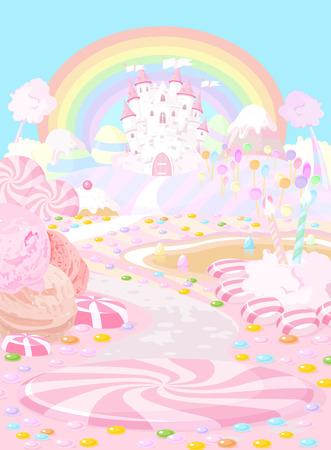 Illustration pastel colored a fairy kingdom