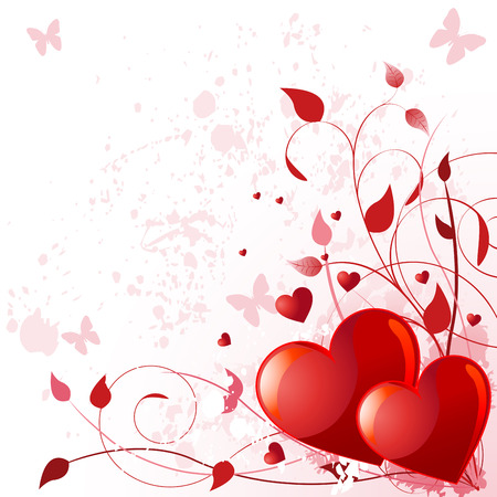 Illustration of valentine day card with heard