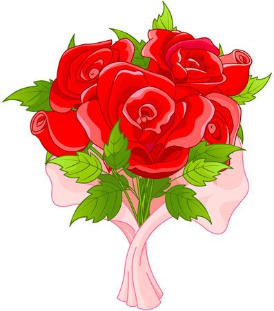 Illustration pour Illustration of bouquet of roses - image libre de droit
