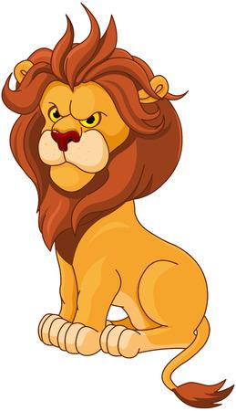 Illustration pour Illustration of angry lion - image libre de droit
