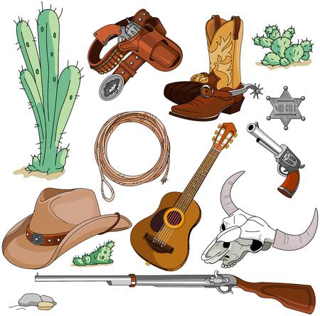 Illustration pour Various vintage cowboy western objects set - image libre de droit