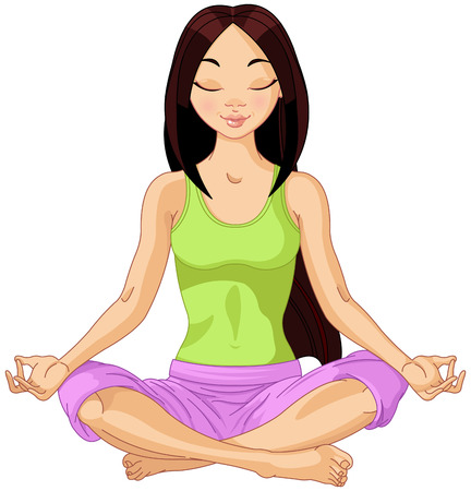 Illustration pour Beautiful girl doing yoga meditation - image libre de droit