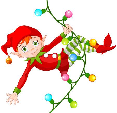 Illustration pour Illustration of cute Christmas elf swinging on a garland - image libre de droit
