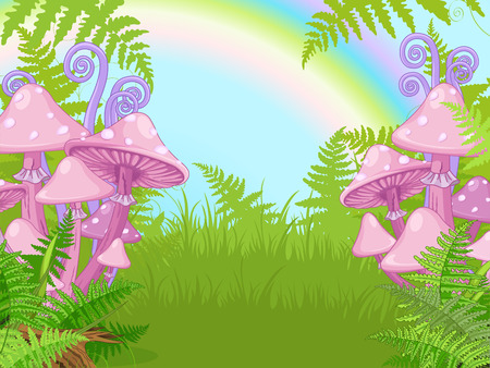 Fantasy landscape with mushrooms, fern, rainbow