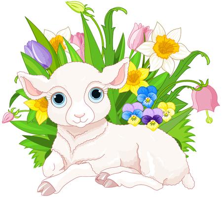 Illustration pour Illustration of cute cub sheep sits in bunch of flowers - image libre de droit