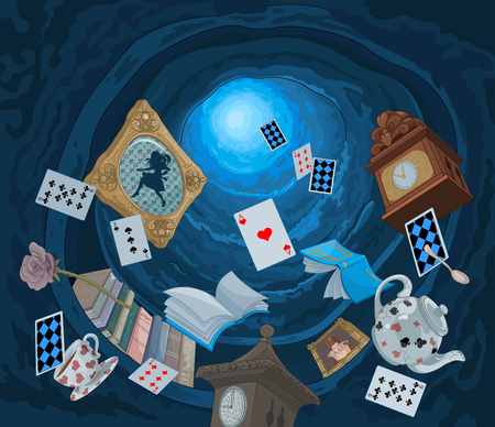 Illustration pour Abstract background of objects falling down in rabbit hole - image libre de droit