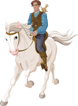 Illustration for Illustration of Prince Charming riding  a horse - Royalty Free Image