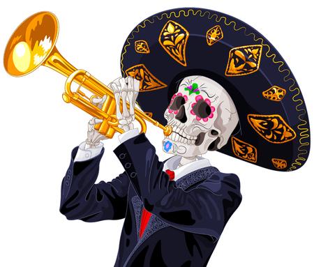 Illustration pour Day of the dead trumpet player.  Dea de los muertos - image libre de droit