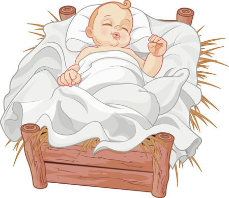Illustration for  Baby Jesus asleep in a Christmas nativity crib - Royalty Free Image