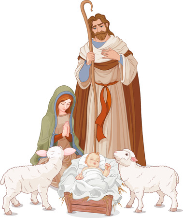 Illustration pour  Christmas nativity scene with Mary, Joseph and baby Jesus - image libre de droit