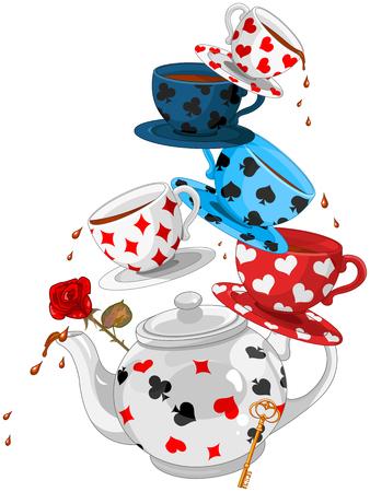 Illustration pour Wonderland Mad Tea Party Pyramid - image libre de droit