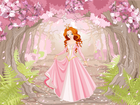 Illustration pour Illustration of beautiful red haired princess on spring forest background  - image libre de droit