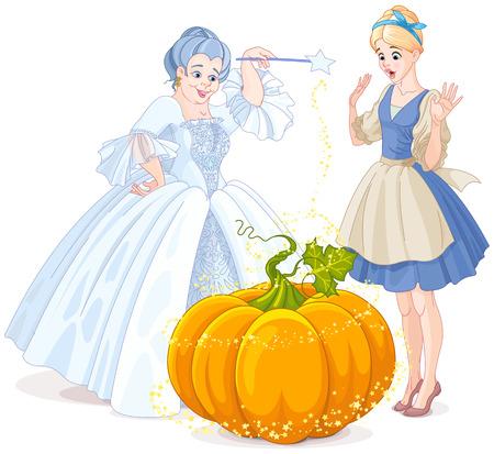 Illustration pour Fairy godmother making magic pumpkin carriage - image libre de droit