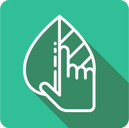 leaf in hand icon for web and mobile. ecology sign in flat design style