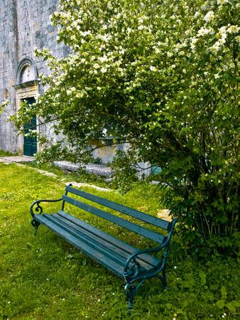 peaceful place in the garden of Catholic monastery on island Sipan, near Dubrovnik, Croatia.