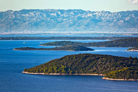 Mediterranean landscape shot from a top of island Dugi otok. Mountains in the background