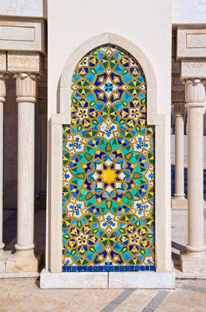 Exterior detail of Hassan II mosque, Casablanca, Morocco.