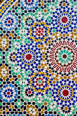 Ceramic craft from Morocco. Stage in making mosaic traditional table.