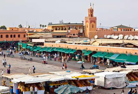 MARRAKESH, MOROCCO - OCTOBER, 22, 2010: Marrakesh (Marrakech) Jemaâ El Fna Square by day