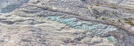 Famous travertine terraces in Pamukkale (ancient Hierapolis), Anatolia, Turkye.
