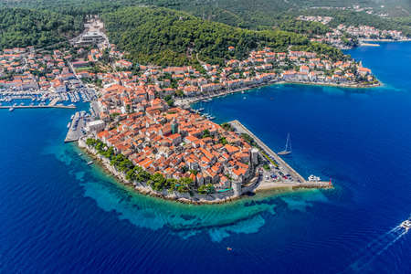 Aerial helicopter shoot of Korcula old town  Dubrovnik archipelago - Elaphites islands