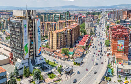 PRISTINA, KOSOVO - JULY 01, 2015: Aerial view of the big residential buildings in the new part of city that is grows and changes every day.
