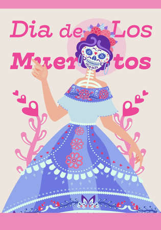 Illustration pour Modern layout of poster for Day of the Dead. Cute mexican skeleton woman character Catrina, sugar palette - image libre de droit